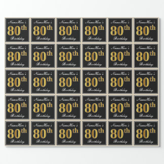 Elegant, Faux Gold 80th Birthday + Custom Name Wrapping Paper
