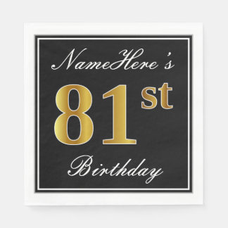Elegant, Faux Gold 81st Birthday + Custom Name Paper Serviettes