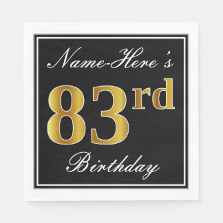 Elegant, Faux Gold 83rd Birthday + Custom Name Disposable Napkin