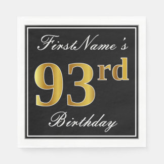 Elegant, Faux Gold 93rd Birthday + Custom Name Disposable Napkin