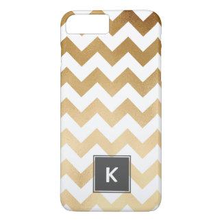 elegant faux gold and white chevron pattern iPhone 8 plus/7 plus case