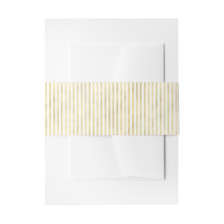 Elegant Faux Gold and White Stripes Invitation Belly Band