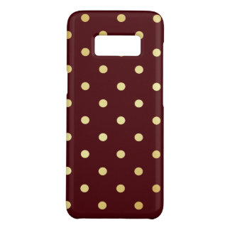 elegant faux gold brown polka dots Case-Mate samsung galaxy s8 case
