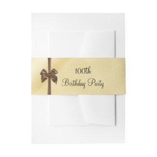 Elegant Faux Gold & Brown Satin Bow 100th Birthday Invitation Belly Band