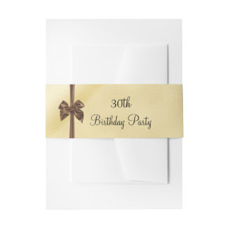 Elegant Faux Gold & Brown Satin Bow 30th Birthday Invitation Belly Band