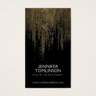 Elegant Faux Gold Confetti Dots Pattern Black Business Card
