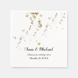 elegant faux gold confetti (falling dots) wedding paper napkin
