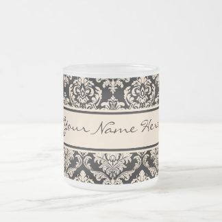 Elegant Faux Gold Damasks Pattern On Black Frosted Glass Coffee Mug