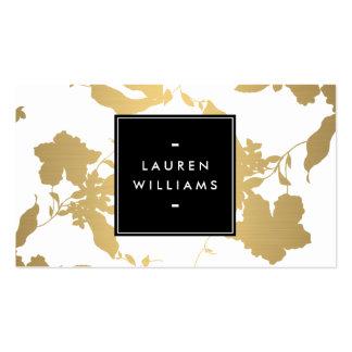 Elegant Faux Gold Floral Pattern Designer, Beauty Pack Of Standard Business Cards