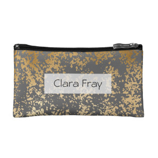 elegant faux gold foil and grey brushstrokes cosmetics bags