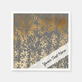 elegant faux gold foil and grey brushstrokes disposable napkins