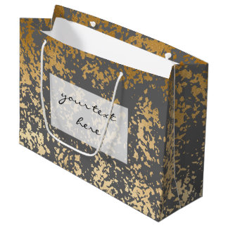 elegant faux gold foil and grey brushstrokes large gift bag