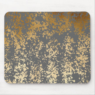 elegant faux gold foil and grey brushstrokes mouse pad