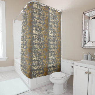 elegant faux gold foil and grey brushstrokes shower curtain