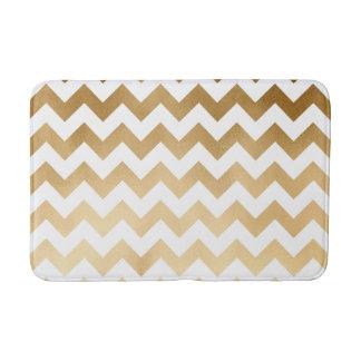 elegant faux gold foil and white chevron pattern bath mat