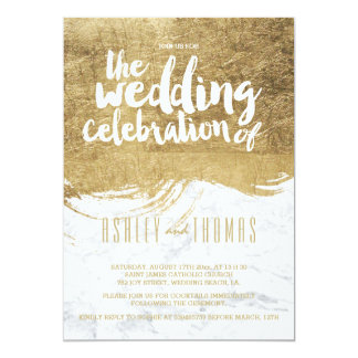 Elegant faux gold foil brushstroke marble wedding 13 cm x 18 cm invitation card