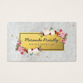 Elegant Faux Gold Foil Damask Floral Makeup Artist Business Card
