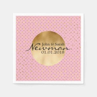 elegant faux gold foil dots | black polka dots disposable serviettes