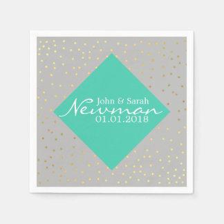 elegant faux gold foil dots | mint diamond paper napkins