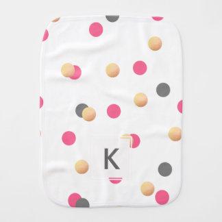 elegant faux gold foil grey pink confetti dots burp cloths