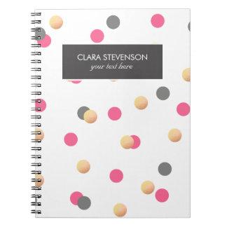 elegant faux gold foil grey pink confetti dots notebooks