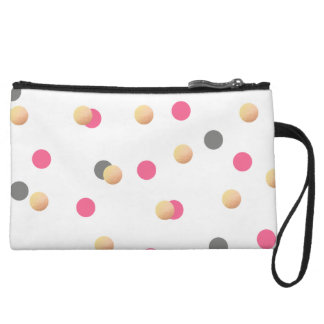 elegant faux gold foil grey pink confetti dots wristlet purses