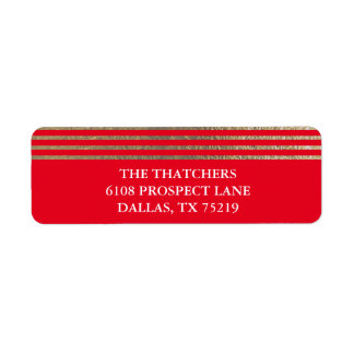 Elegant Faux Gold Foil Stripe Return Address Label