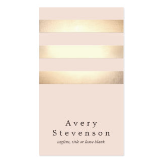 Elegant Faux Gold Foil Striped Modern Light Pink Pack Of Standard Business Cards