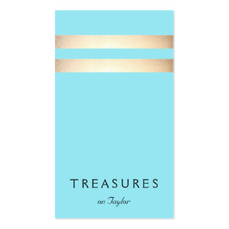 Elegant Faux Gold Foil Striped Turquoise Blue Pack Of Standard Business Cards