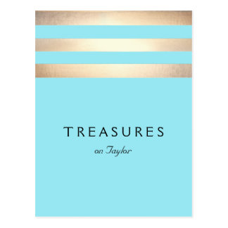 Elegant Faux Gold Foil Striped Turquoise Blue Postcard