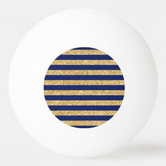 Elegant Faux Gold Glitter and Blue Stripe Pattern