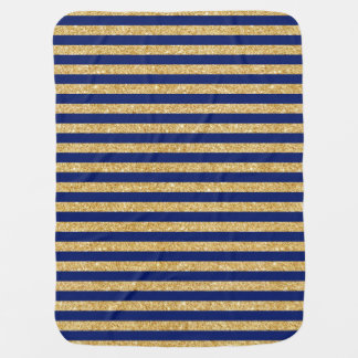 Elegant Faux Gold Glitter and Blue Stripe Pattern Baby Blanket