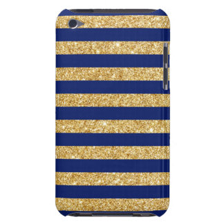 Elegant Faux Gold Glitter and Blue Stripe Pattern Barely There iPod Covers