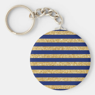 Elegant Faux Gold Glitter and Blue Stripe Pattern Basic Round Button Key Ring