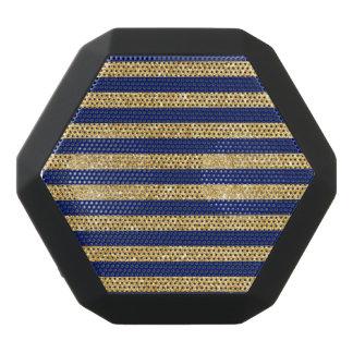 Elegant Faux Gold Glitter and Blue Stripe Pattern Black Bluetooth Speaker