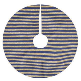 Elegant Faux Gold Glitter and Blue Stripe Pattern Brushed Polyester Tree Skirt