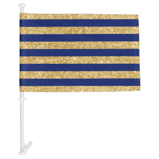 Elegant Faux Gold Glitter and Blue Stripe Pattern Car Flag