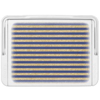 Elegant Faux Gold Glitter and Blue Stripe Pattern Cooler