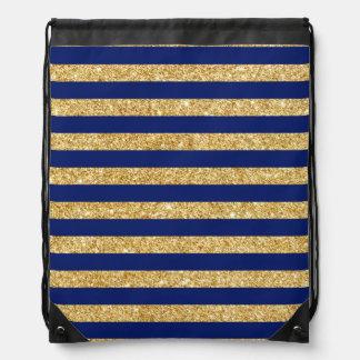 Elegant Faux Gold Glitter and Blue Stripe Pattern Drawstring Bag