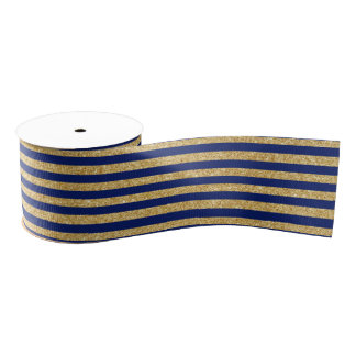 Elegant Faux Gold Glitter and Blue Stripe Pattern Grosgrain Ribbon