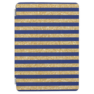 Elegant Faux Gold Glitter and Blue Stripe Pattern iPad Air Cover