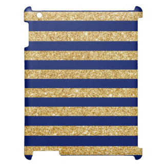 Elegant Faux Gold Glitter and Blue Stripe Pattern iPad Cover