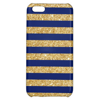 Elegant Faux Gold Glitter and Blue Stripe Pattern iPhone 5C Covers