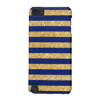 Elegant Faux Gold Glitter and Blue Stripe Pattern iPod Touch (5th Generation) Case