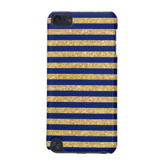 Elegant Faux Gold Glitter and Blue Stripe Pattern iPod Touch (5th Generation) Cover