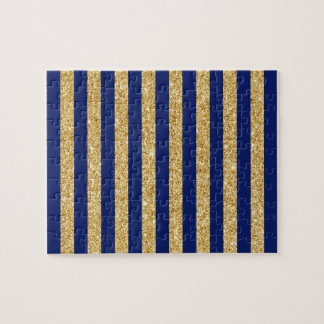 Elegant Faux Gold Glitter and Blue Stripe Pattern Jigsaw Puzzle