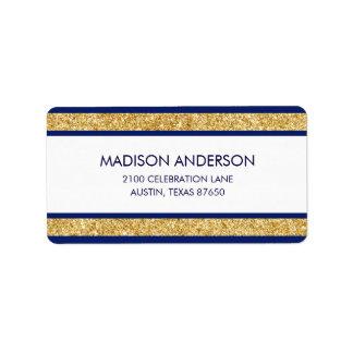 Elegant Faux Gold Glitter and Blue Stripe Pattern Label