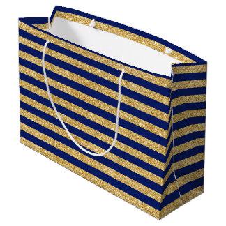 Elegant Faux Gold Glitter and Blue Stripe Pattern Large Gift Bag