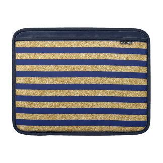 Elegant Faux Gold Glitter and Blue Stripe Pattern MacBook Sleeve