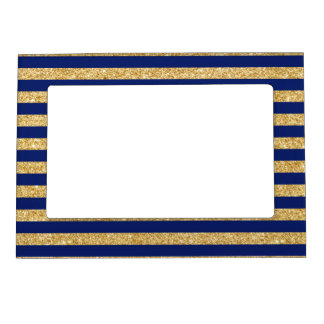Elegant Faux Gold Glitter and Blue Stripe Pattern Magnetic Picture Frame